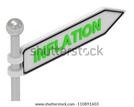 INFLATION word on arrow pointer on isolated white background