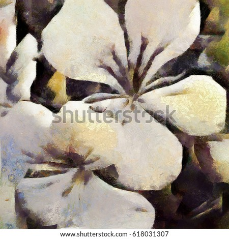Inflorescence an unknown flower. Abstraction in modern style with elements of cubism. Executed in oil on canvas.