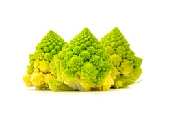 Inflorescence of Romanesco Broccoli (Brassica oleracea) on a white background