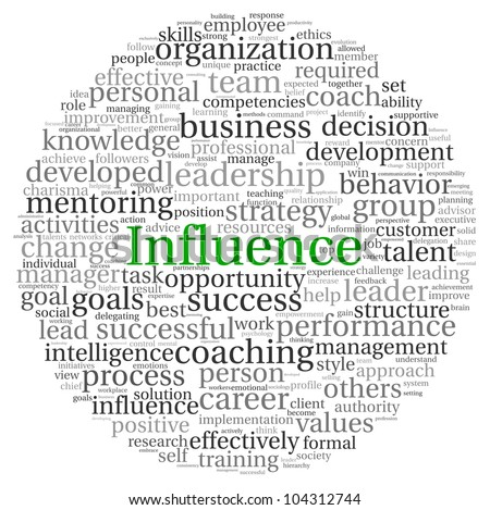 Influence concept in word tag cloud on white background