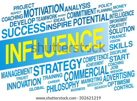INFLUENCE word cloud concept in blue color