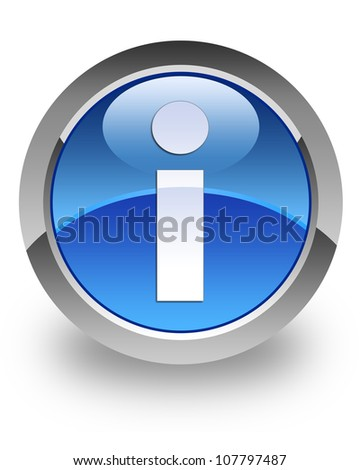 Info icon on glossy blue round button