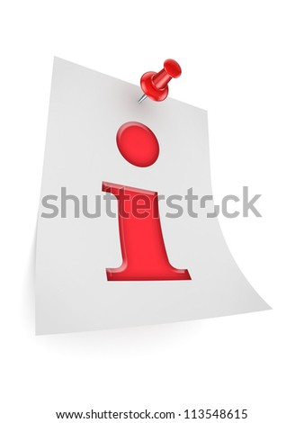 Info symbol icon.Isolated on white background.3d rendered.