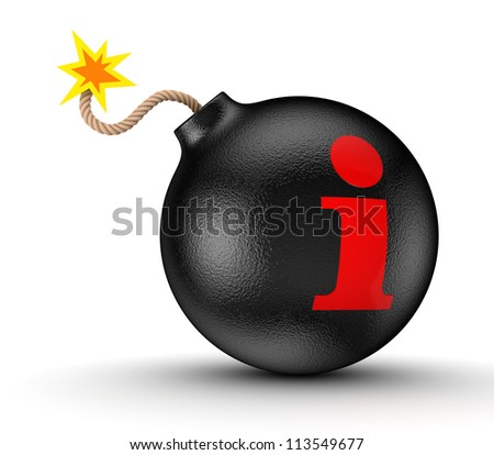 Info symbol on a black bomb.Isolated on white background.3d rendered.