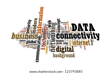 Info text graphic Data in word shape isolated in white background