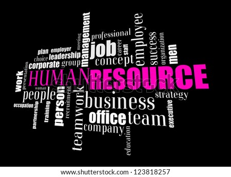 Info text graphic Human Resource in word shape isolated in black background