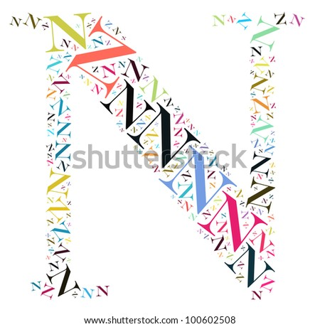 Info-text graphics and arrangement concept (word clouds) begin with alphabet N isolated white background