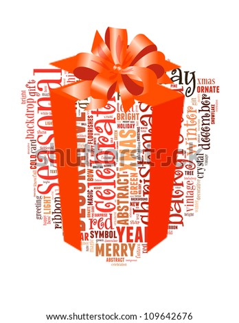 Info-text graphics Celebration composed in Present with Ribbon shape concept in white background