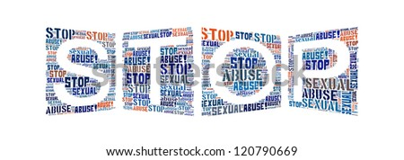 Info-text graphics Stop Sexual Abuse composed in STOP shape concept in white background