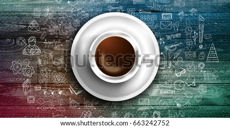Infograph background template with a fresh coffee on real wooden table with infographic design elements and mockups and hand drawn sketches of technology items. #663242752