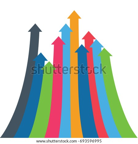 Infographic arrow. 3D simple background for your presentation. Arrows of growth, success, sales volume increase, demographic increase. Business financial infographics for presentation, web site.