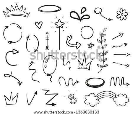 Infographic elements on isolated white background. Hand drawn simple arrows. Line art. Set of different things. Abstract signs. Black and white illustration. Doodles for artwork #1363030133