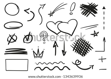 Infographic elements on isolation background. Collection of signs on white. Hand drawn simple shapes. Line art. Abstract circles and arrows. Doodles for work