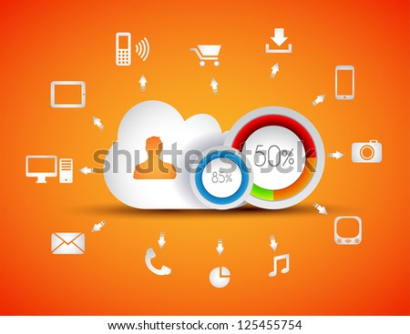 Infographic elements - set of paper tags, technology icons, cloud cmputing, graphs, paper tags, arrows, world map and so on. Ideal for statistic data display.