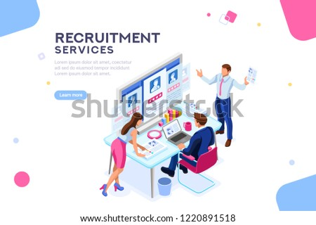 Infographic of employment leadership. Recruit for business, recruitment presentation. Job hr resource, businessman employer character with text. Flat isometric concept illustration.