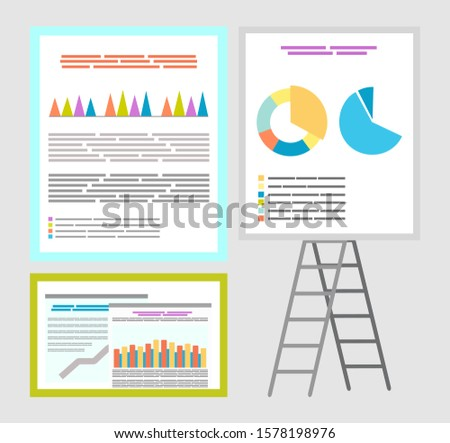 Infographics and infocharts, whiteboard charts raster. Board with information and explanation, data in visual representation, visualization diagrams