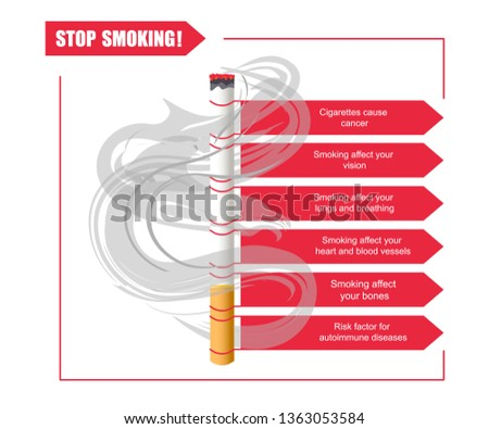 Infographics of the dangers of smoking. Cigarette ban banner. Flat Art Rastered copy