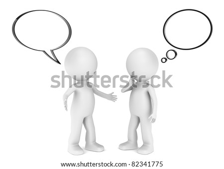 Inform. 3D little human character X 2 with a Think and Speech bubbles. Blank for copy space.