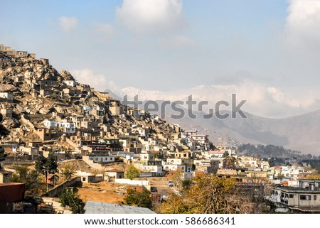 Informal settlements in kabul Afghanistan on a hill