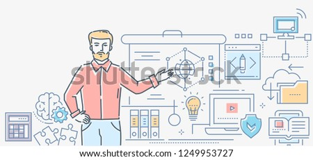 Informatics lesson - colorful line design style illustration on white background. A composition with a male teacher standing at the board showing formulas. Images of laptop, tablet, folders, brain