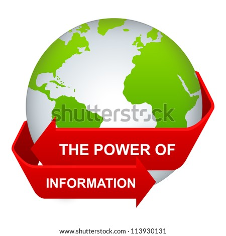 Information And Technology Concept Present By The Red Power of Information Arrow Around The Green Globe Isolate on White Background