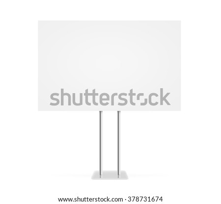 Information board mock up stand isolated. Billboard mockup. Support table. Stand on white background. Blank signage standing. Clear plain banner. Empty plate plank panel display.