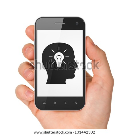 Information concept: hand holding smartphone with Head Whis Light Bulb on display. Generic mobile smart phone in hand on White background.