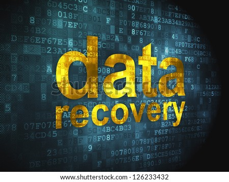 Information concept: pixelated words Data Recovery on digital background, 3d render