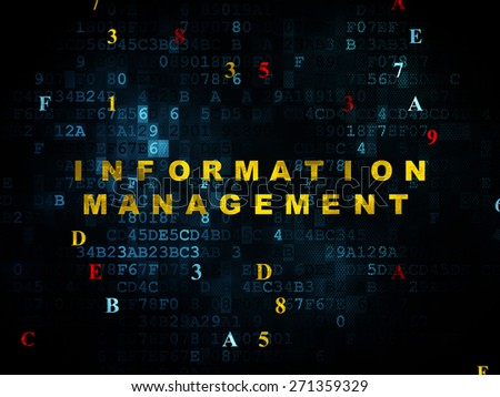 Information concept: Pixelated yellow text Information Management on Digital wall background with Hexadecimal Code, 3d render