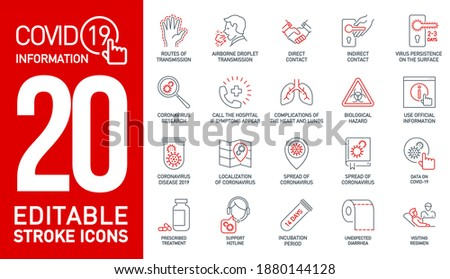 information Coronavirus Covid19 black and red line icons isolated on white. Perfect outline medicine symbol pandemic. black red design elements virus treatment. infographics Icons with editable Stroke