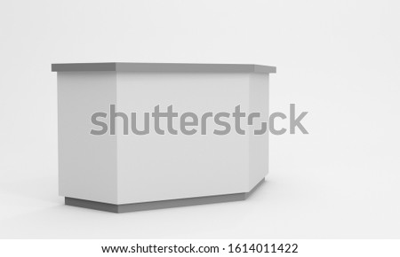 Information desk or exhibition counter isolated. Counter for reception and helping service stand. 3D rendering