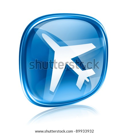 Information icon blue glass, isolated on white background.