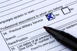 Information on military service in application form