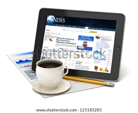 Information on tablet with coffee on a white background.