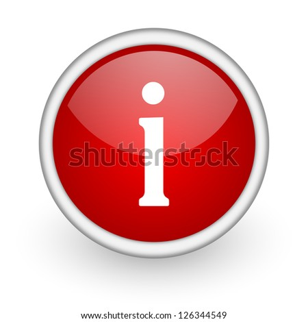 information red circle web icon on white background