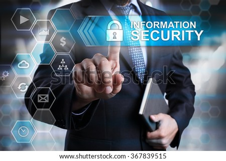Information security concept. Businessman pointing on virtual screen with text and icons. #367839515