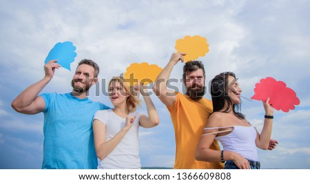 Information sharing and coordination. People speak using speech bubbles. Friends send messages on comic bubbles. Group communication pleasure. Communication occurs through speech balloons, copy space.