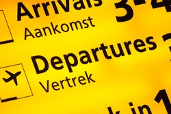 Information sign at Amsterdam Schiphol Airport, the Netherlands