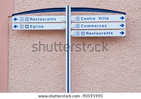 Information street sign in small european town, France