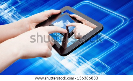 Information technology background - abstract tablet computer in hands, multimedia gadget, augmented reality
