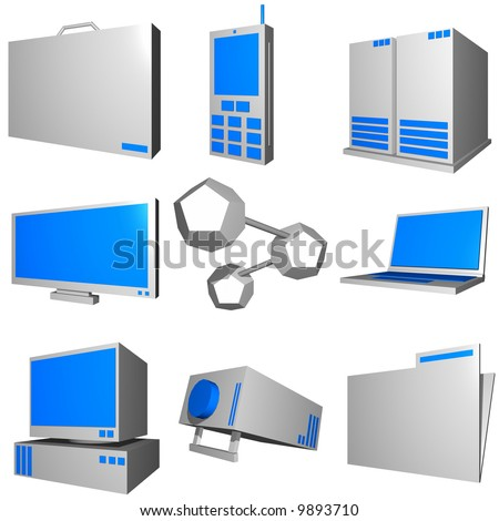 Information technology business icons and symbol set series gray