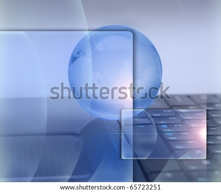 Information technology. Glass globe and laptop.