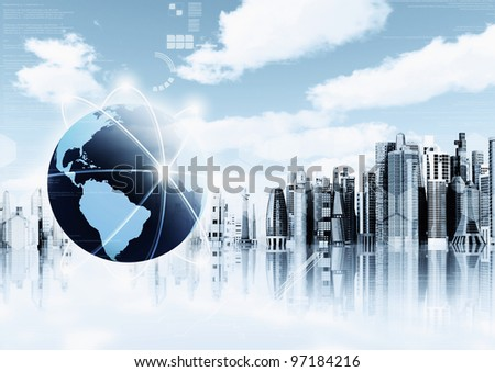 Information Technology Illustration concept. Conceptual image for information technology, cloud computing or internet with futuristic city as background. - stock photo