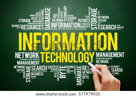 Information technology word cloud collage, business concept on blackboard #577979035