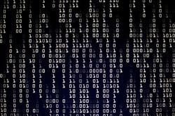 information war. Dark Blue binary code blocks flowing downward. danger, war, conflict, hacker, error and virus concepts. dark red background and computer language for cyber warfare.