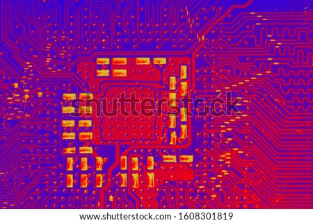 Infrared image of the computer's CPU. Thermal imaging examination