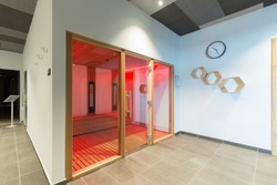 Infrared light sauna interior in hotel spa center