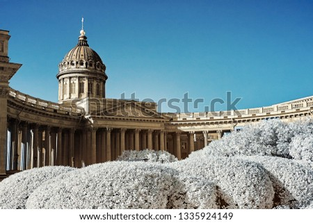 Infrared photo taken by a special modified camera with infrared filter. The Kazan Cathedral, Saint-Petersburg.
