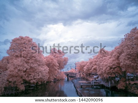 Infrared photo ,Views of the river in Thailand on infrared filter photography.