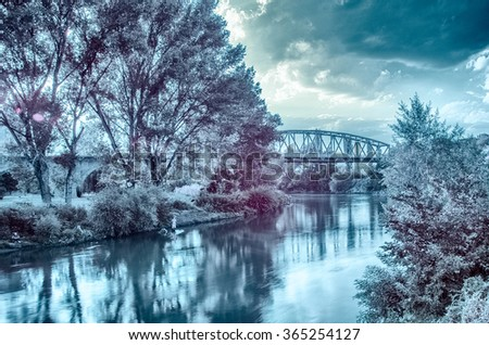 Infrared photography of river Vardar and the Iron bridge in Veles, R. Macedonia